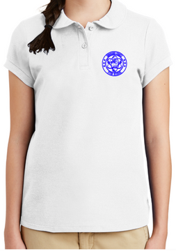 Oakboro Stem Girls Peter Pan Polo- White