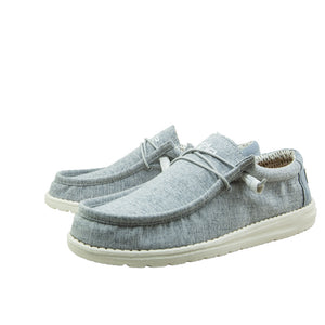 Men's Wally Chambray Blue Hey Dudes
