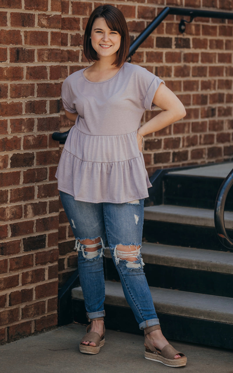 Lavender Tiered Baby Doll Top