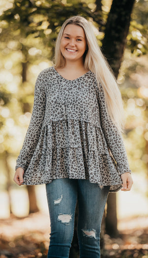 Grey Leopard Baby Doll Top