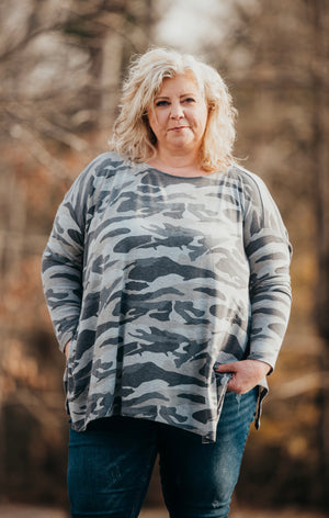 Camo Grey Hacci Knit Top