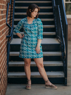 Teal Ruffle Sleeve Horseshoe Neck Dress