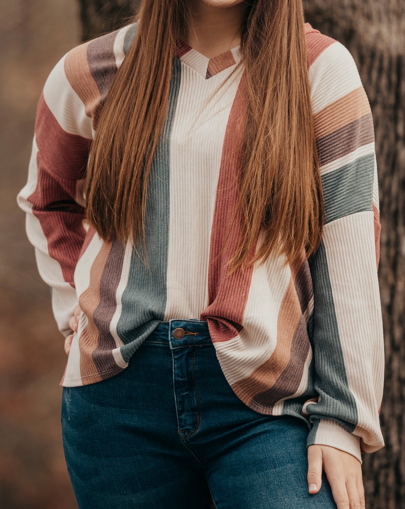 Multi Stripe Long Sleeve V Neck Top