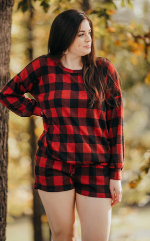 Red Plaid Lounge Top