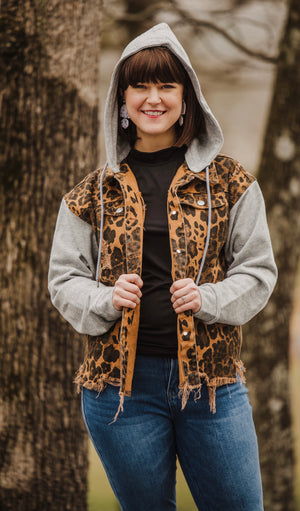 Cheetah Distressed Snap Button Jacket