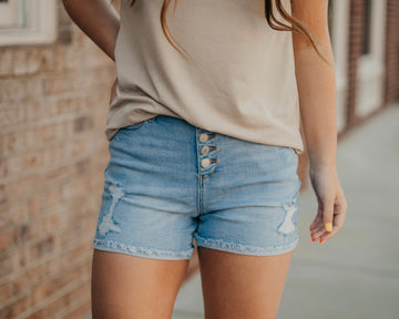 High Waisted Button Fly Destroyed Cuffed Judy Blue Shorts