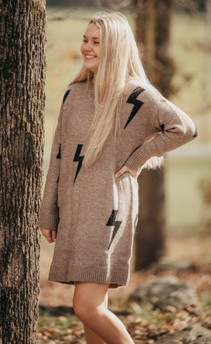 Cocoa Lighting Bolt Dress