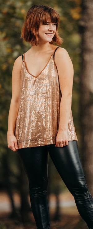 Rose Gold Sequin Tank