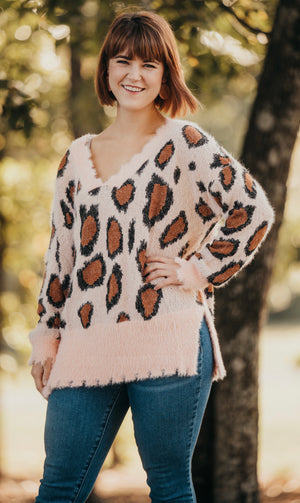 Light Pink Cheetah Distressed Sweater