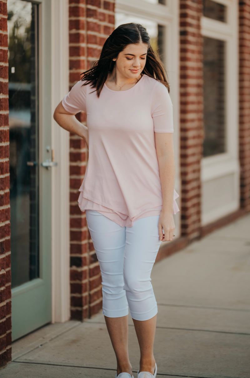 Blush Elbow Sleeve Lined Tunic