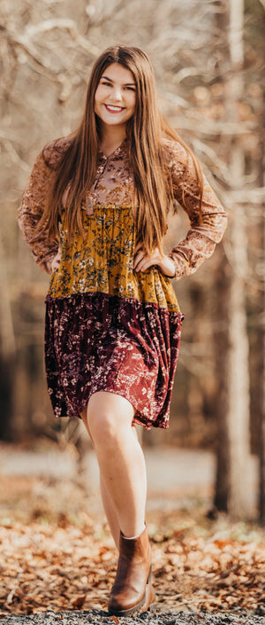 Mocha Floral Button Down Dress