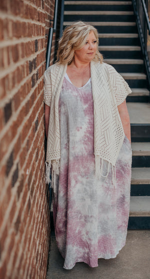 Dusty Lavender Tie Dye Maxi Dress