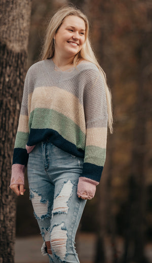 Sliver Multi Stripped Distressed Sweater