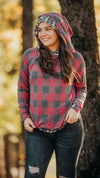 Red Plaid Cheetah Hoodie