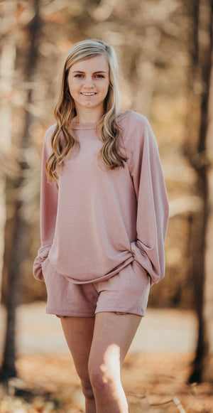 Mauve French Terry Knit Long Sleeve Lounge Top