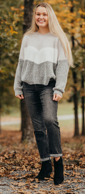 Taupe Color Block V Neck Sweater