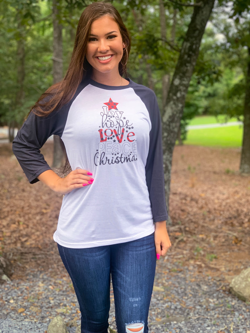 Joy Hope Love Baseball Tee