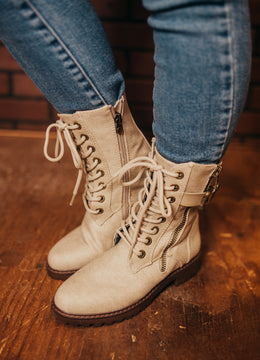 Light Taupe Rauly Combat Boot