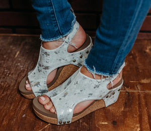 Carley White Metallic Wedge