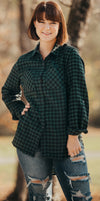 Green-Black Plaid Button Up Top