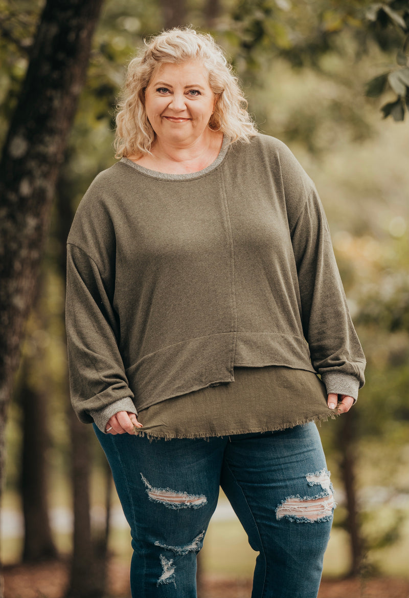 Olive Linen Pullover