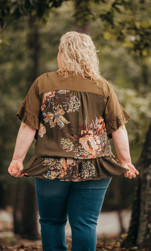 Olive Brown Floral Top