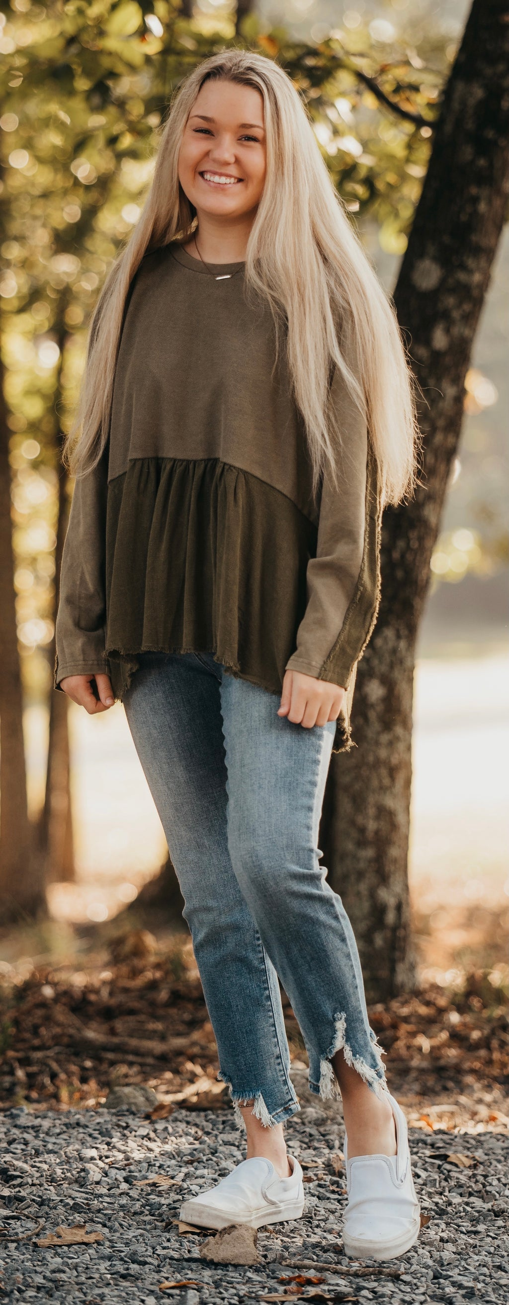 Olive Mineral Wash Long Sleeve Babydoll Top
