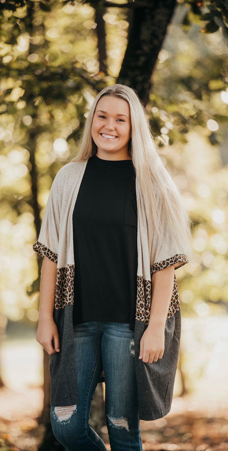 Charcoal Cheetah Print Color Block Kimono