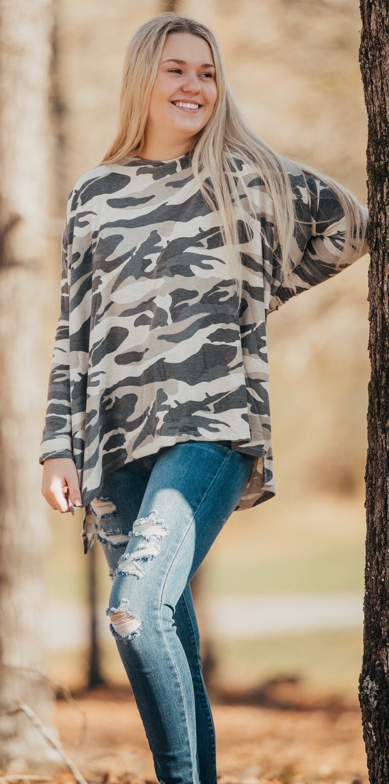 Camo Oatmeal Hacci Knit Top