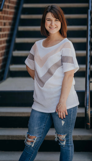 Ivory Blush Chevron Top