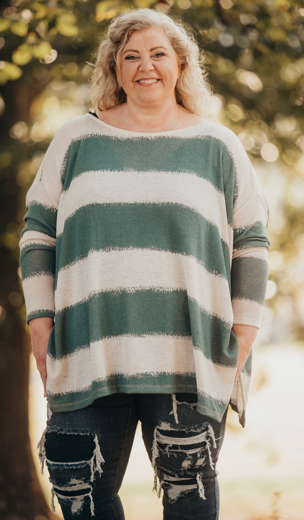 Teal Oversized Stripped Poncho Top