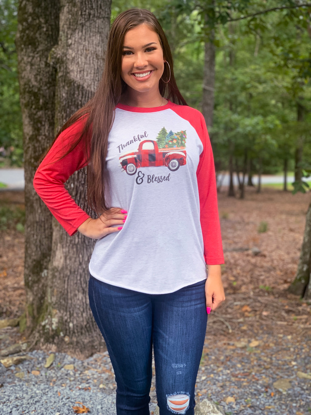 Thankful & Blessed Truck Baseball Tee