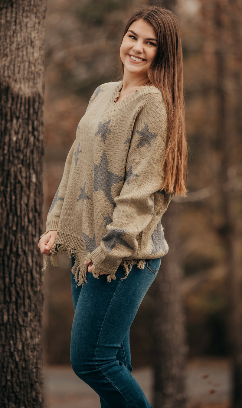 Light Olive Star Distressed Sweater