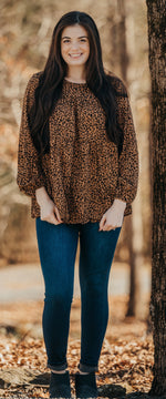 Leopard Long Sleeve Baby Doll Top