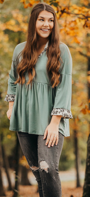 Sage Leopard Baby Doll Top