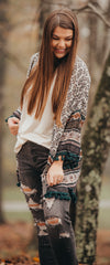 Hunter Green Print Tassel Fringe Cardigan