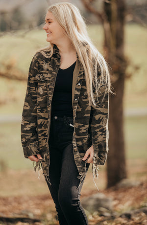 Olive Camo Distressed Denim Jacket