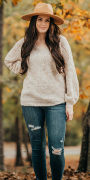 Oatmeal Detailed Sweater