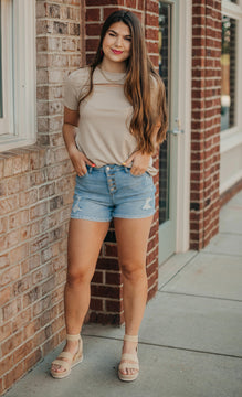 Taupe Ribbed Cut Out Top