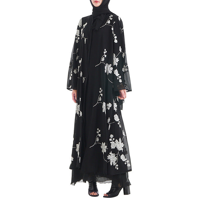 cab10fbc887 Babalet Muslim Women s New Black Embroidered Robe Dubai Islamic Cardigan  Ramadan Casual Jacket Breathable Loose Dress
