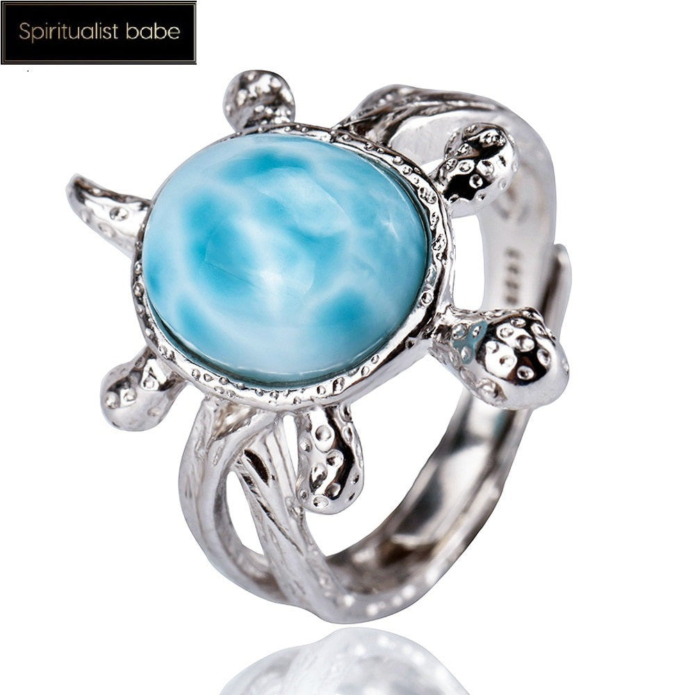 Natural Blue Larimar Adjustable Ring