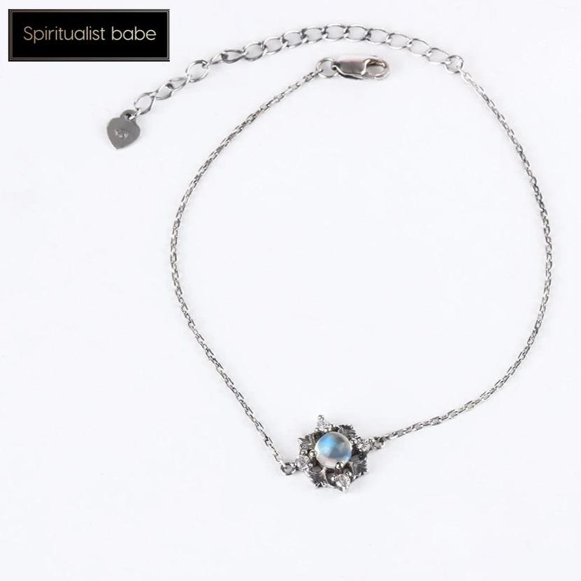 Natural Blue Moonstone Charm Bracelet