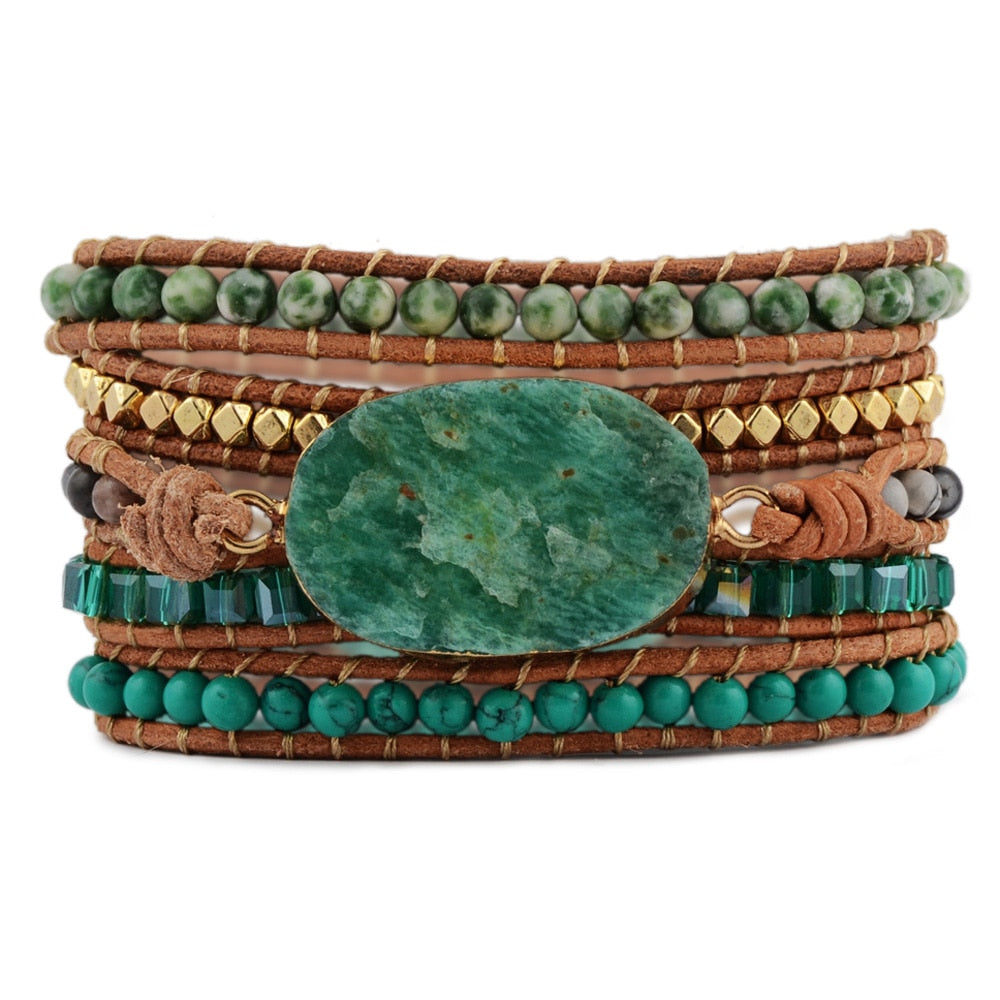 Rough Amazonite Wrap Bracelet - 5x Wraps Leather Bracelet Bohemian Styling