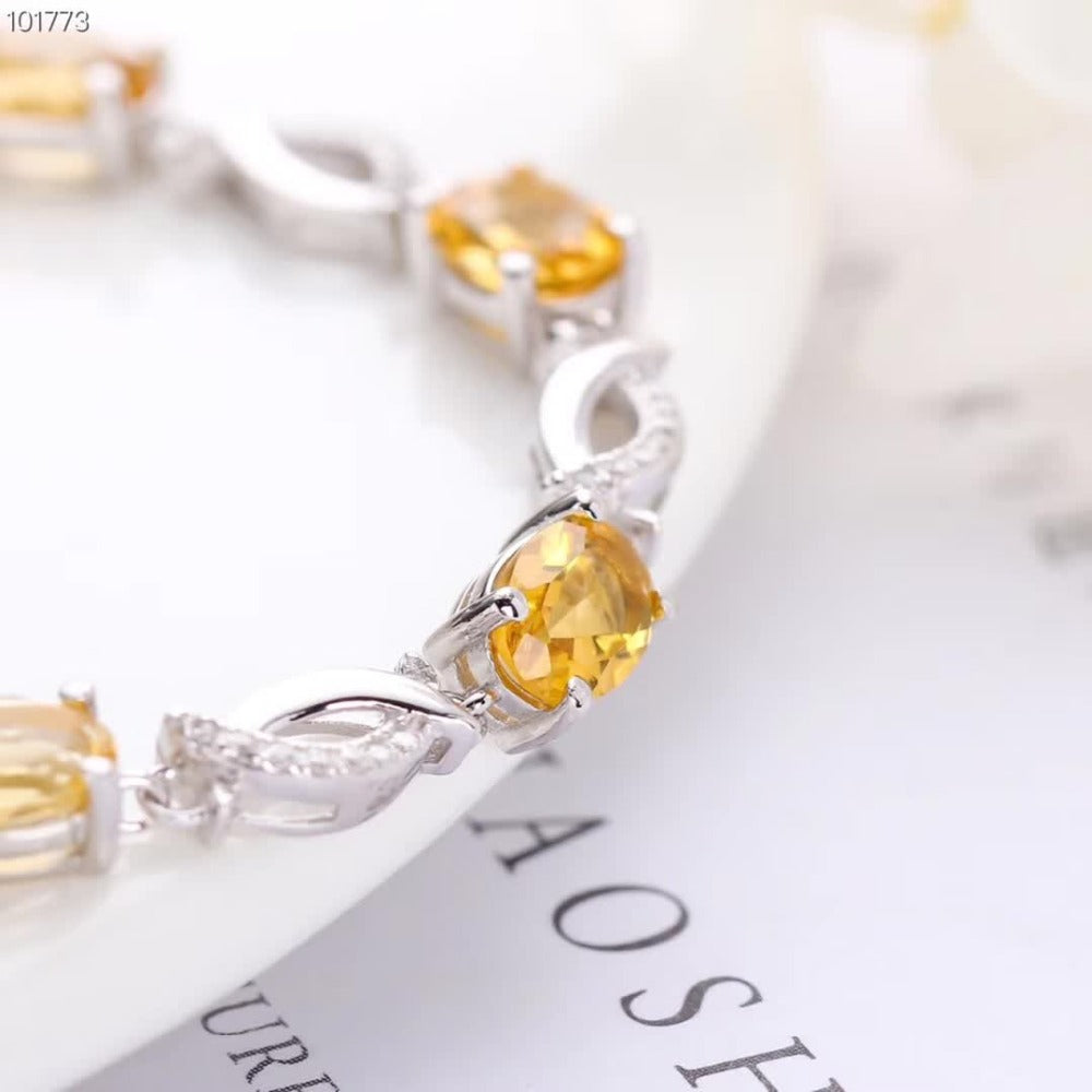 Citrine 925 sterling silver natural yellow crystal Bracelet