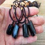 Natural Black Tourmaline Stone Necklace Pendant