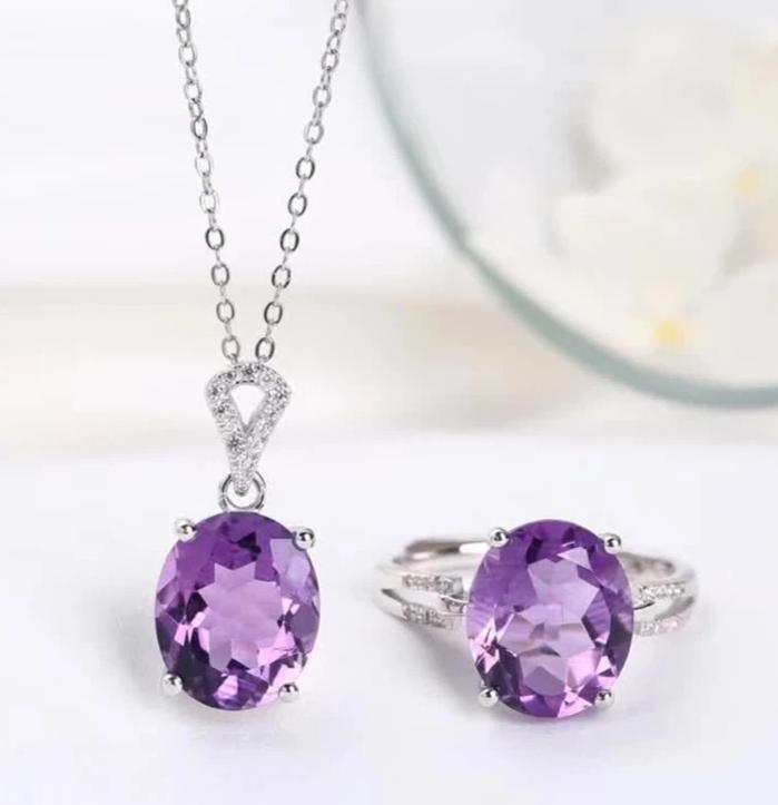 Natural Crystal Healing Amethyst Set (Necklace + Ring)