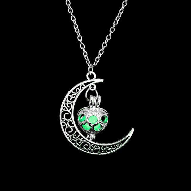 Neo-Gothic Luminous Moon Charm In The Dark Glowing Stone Necklace Pendant