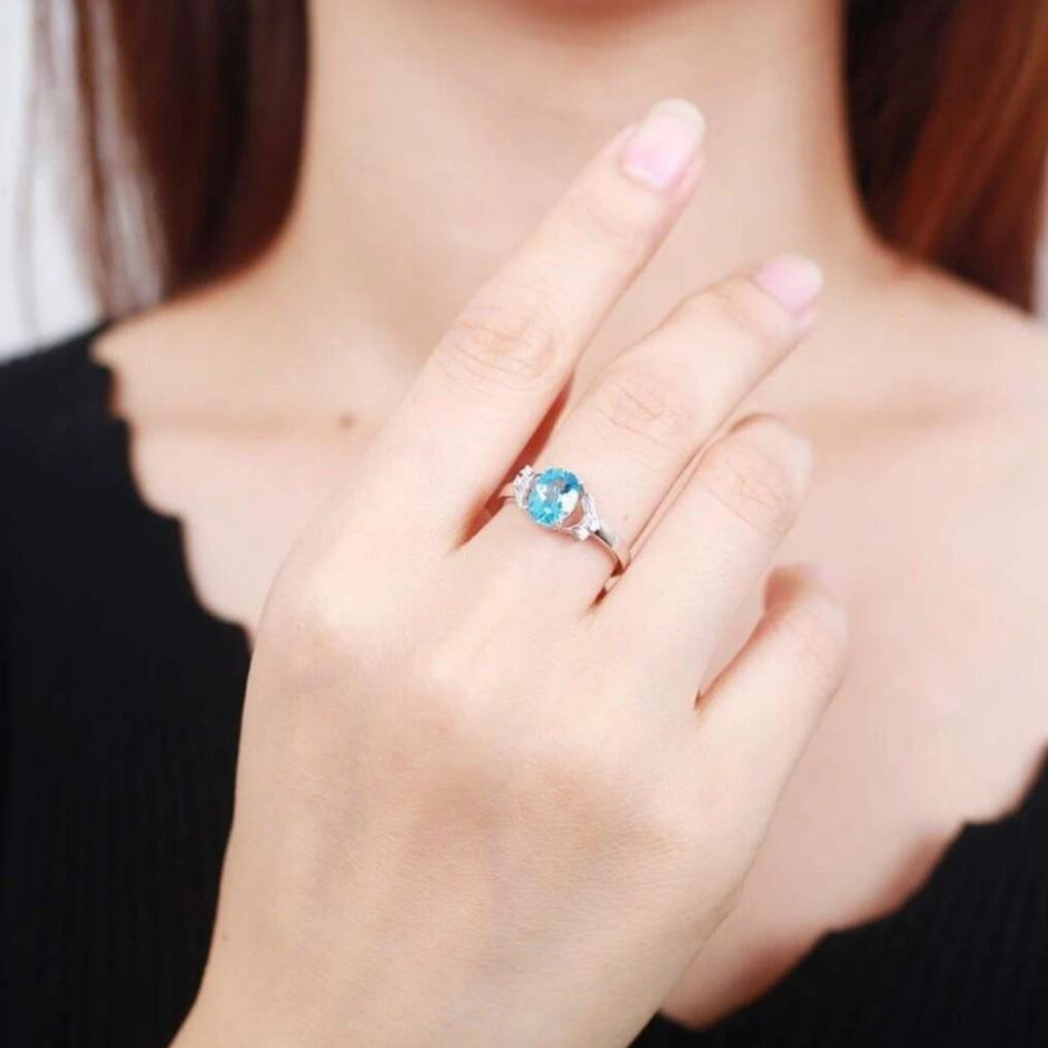 Natural Blue Topaz Adjustable Ring