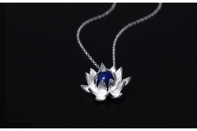 Sterling Silver Lapis Lazuli Lotus Flower Necklaces