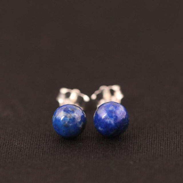 925 Sterling Silver Lapis Lazuli Stud Earrings